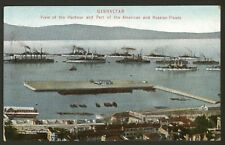 Gibraltar. Harbour & Part of the American & Russian Fleets 1909 Printed Postcard