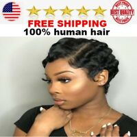 Short Lace 100% Human Hair Wigs For Women Brazilian Ocean Wave Remy front wig