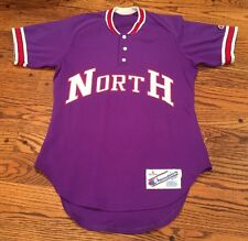 NORTH HIGH SCHOOL Vtg 80s Purple Henley CHAMPION USA Baseball Jersey, Mens SMALL