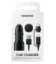 Samsung Car FAST Charger Dual USB Port (15W) w/ Type-C / micro USB Combo Cable