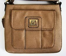 Anne Klein Purse Cross Body Messenger Handbag Gold Faux Leather Trinity