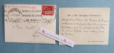 CDV 1937 M/Mme Hubert DUMENGE à famille de MORAND à Lyon - Flamme postale