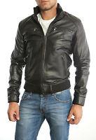 PROMOZIONE Giacca Giubbotto in Pelle Uomo Men Leather Jacket Veste 3s8 52
