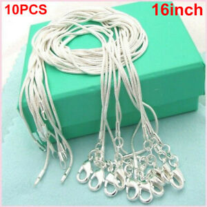10X Wholesale Silver Plated Solid Snake Chain Necklace Womens Thin 1mm/16 inch