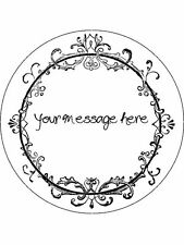 """Personalised Vintage Scroll Frame 7.5"""" Edible Wafer Paper Cake Topper"""