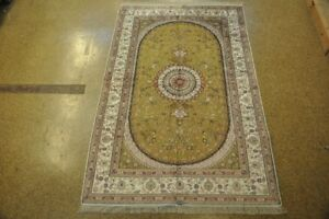Olive - Ivory Traditional Hand-Knotted Area Rug 5x8 Oriental Silk