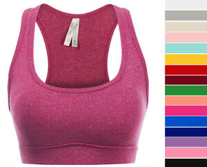 Women's Solid Color Padded Sports Bra Seamless Racerback Workout Yoga Crop Top