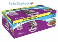 Whiskas 1 Plus Cat Pouches Fish Selection in Jelly, 100g Pack of 40