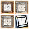 Venetian Jewel Frame Mirror Wall Clock 50cm square wall crushed diamante