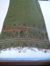 Unbranded mainly moss green and black pashmina scarf