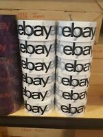"12 Rolls Official eBay Brand Logo Black Packing Packaging Tape Shipping 2"" x 75"