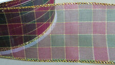 """5 Yds Sheer Holiday Plaid Wire Edge Ribbon 2 1/2"""" Wide"""