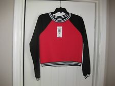 NEW with TAGS OLSENBOYE QUILTED JERSEY TOP SHIRT  LIPSTICK RED/BLACK  MEDIUM