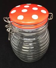 Ribbed Beehive Glass Jar with bail Red White Polka Dots Lid hand made glass