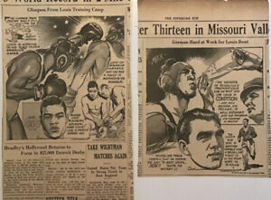 2 1938 newspaper panels - Joe Louis, Max Schmeling prep for the big fight