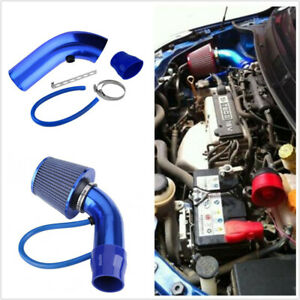 3in Car Cold Air Intake Kit Blue Alumimum Pipe + Filter+ Clamp Auto Accessories