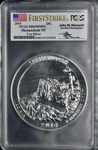 2014 25C FirstStrike PCGS MS69 DMPL Shenandoah NP 5oz Silver Mercanti Signed