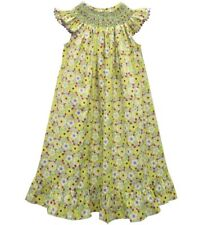 Girls VIVE LA FETE boutique smocked dress 2T NWT lime green floral bishop Easter