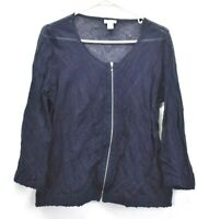 Chico's Womens Size 1 Long Sleeve Blue Scoop Neck Sheer Zip Up Blouse