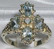 Aquamarine Cluster Sterling Silver Fine Rings