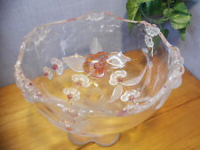Lovely Compote w Frosted Leaves & Pink Cherry Flowers, Walther Glass, Mikasa VTG