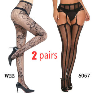 Cozy Feel 2 Pairs Women's Lace Pantyhose Tights Garter Lady Stockings large size