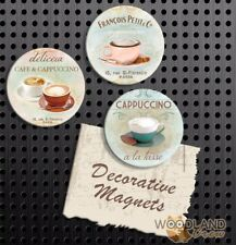 Cappuccino Magnets, Set of 3 Handmade Fridge Magnets, Cafe Gift Set