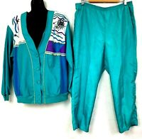 Vtg 80s Teddi 2 Piece Track Suit Teal Button Up Jacket Wind Pant Set Sun Star L