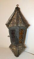 antique hand made wrought iron stained glass hanging ceiling chandelier lantern