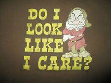 "GRUMPY ""DO I LOOK LIKE i CARE?"" T SHIRT Snow White 7 Dwarfs DISNEY Adult LARGE"