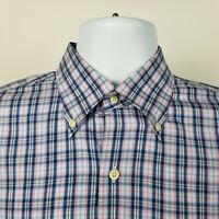 Peter Millar Mens Blue Pink Check Plaid Dress Button Shirt Size Medium M