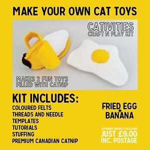 SALE! Craft Your Own Cat Toys - Banana & Fried Egg - with Premium Catnip.