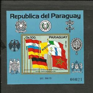 PARAGUAY FLAGS, MICHEL BLOCK 214 SPECIMEN MNH