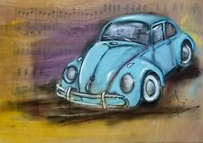 CRAMOLINI 1966 Volkswagen BUG ORIG ART Hand painted Painting Drawing on Music