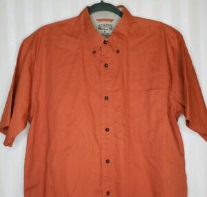Austin Clothing Co Mens Sz L Button Down Shirt Rusty Orange Short Sleeve Pocket