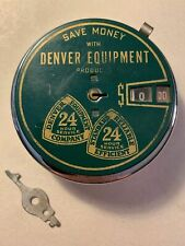 Vintage Round Metal Calculating Coin Bank ~ Advertising Denver Equipment Co.