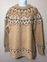 Danspin Womens Fair Isle Denmark Handknit 100% Pure Wool Winter Sweater Ski M