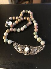 """Beautiful Jade Sterling Silver Beaded And Opal Ornate Drop Pendant Necklace 20"""""""