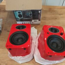 Steljes NS3 Stereo Powered Loudspeakers, Red, Wired Bluetooth, missing remote!