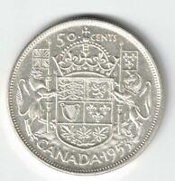 CANADA 1953 SF LD 50 CENT HALF DOLLAR QUEEN ELIZABETH CANADIAN .800 SILVER COIN