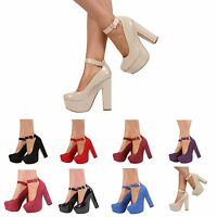 NEW WOMENS LADIES PLATFORM HIGH CHUNKY HEEL ANKLE STRAP COURT SHOES SIZE 3-7