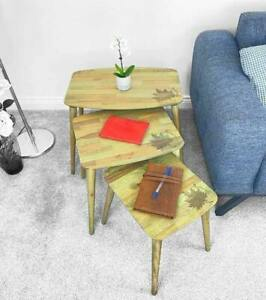 Nest of Tables, Green, Nested Tables, Lamp Side, Coffee Furniture, Oval Legs