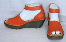 Fly London Women's Perforated Leather Wedge Sandals Shoes Orange Yake SIZE 39