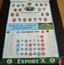 "Export ""A""  Maple Leaf Gardens Calendar page Chicago Black Hawks 1971 - 1972"
