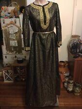 Vintage Evening Dress Gown Kaftan Style Black Gold Lurex Braid Bell Sleeve 12-14