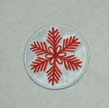 patch, flocon de neige, satin blanc, broder rouge thermocollant 8.5cm