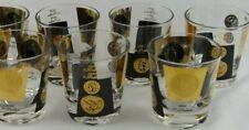 Vintage Cera? Black & 22K Gold Coin Single Old Fashioned Glasses Set of 6