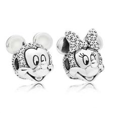 2 un. Plata Minnie Mickey europeo encanto colgante collar pulsera de perlas encajan ! !