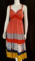 💕Johnny Was Scarf Print TIERED Silk Ribbon Tie Back V Neck Dress Pockets S $315