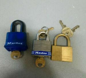 Master Lock Exterior Padlocks ( JOB LOT OF 3 ) Full working order *USED*